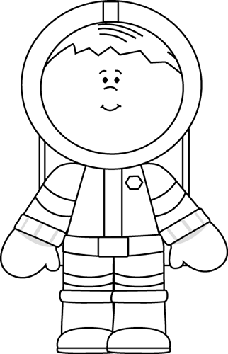 Black and White Boy Astronaut