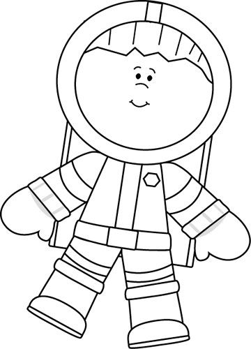 Black and White Boy Astronaut Floating Clip Art Image - black and    Kid Astronaut Clip Art