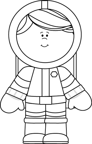black and white girl astronaut clip art