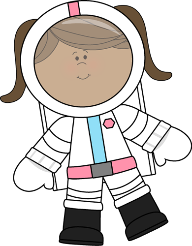 Girl Astronaut Floating