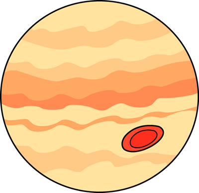 Jupiter Clip Art Image - planet jupiter with red spot.
