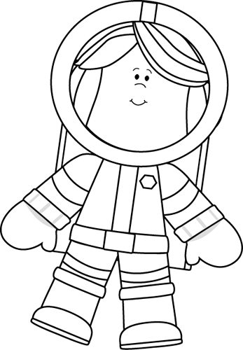Black and White Little Girl Astronaut