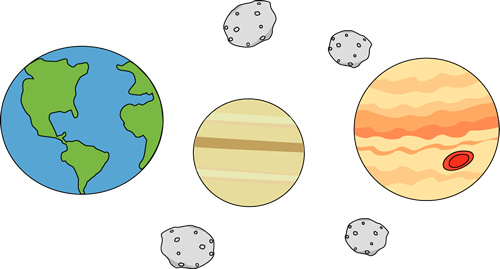 Planets and Asteroids Clip Art Image - three planets and asteroids ...