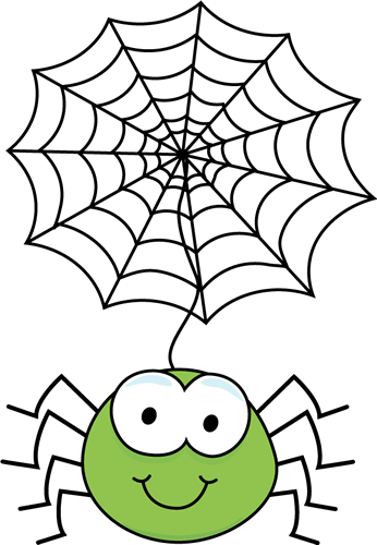 Green Spider Hanging From a Web Clip Art