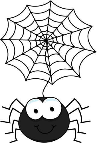 Spider Hanging From a Web Clip Art
