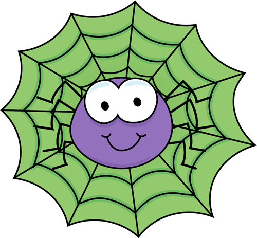 Spider in a Green Spider Web Clip Art