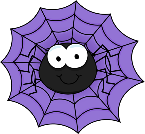Spider in a Purple Spider Web Clip Art
