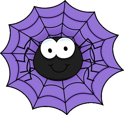 Spider in a Purple Spider Web Clip Art