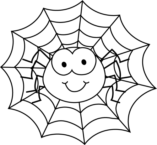 Black and White Spider in a Web Clip Art