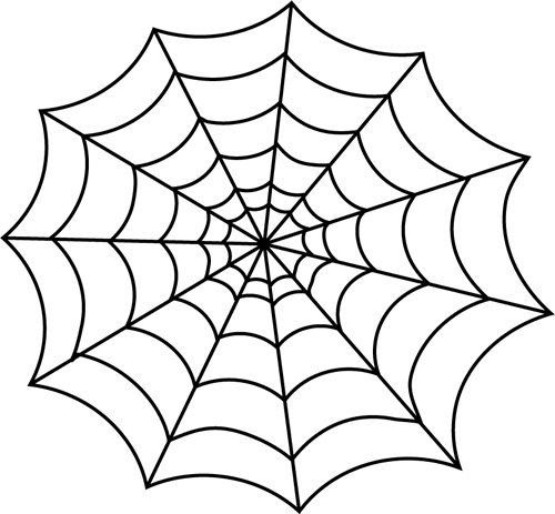 Black and White Spider Web Clip Art
