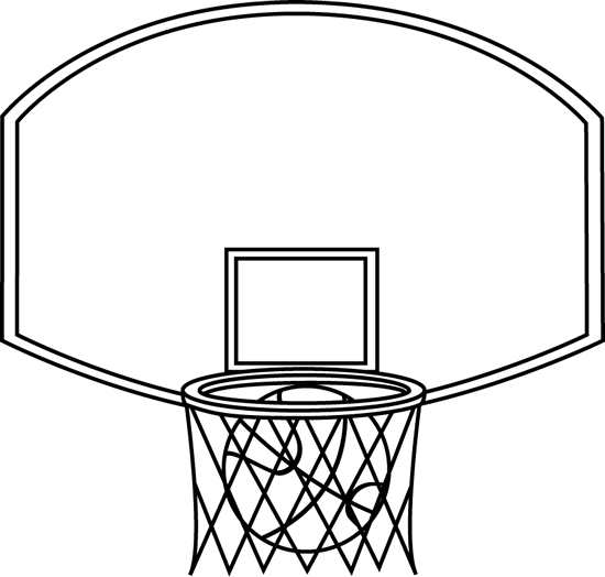 Black and White Basketball Backboard and Ball
