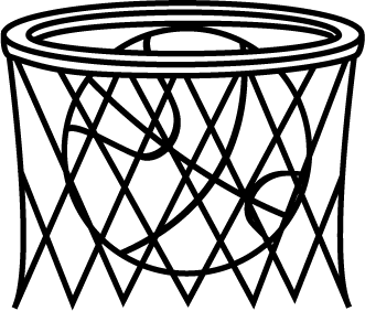 Black and White Basketball in Net
