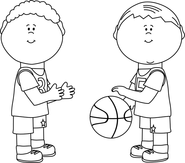 Black and White Boys Playing Basketball Clip Art - Black ...
