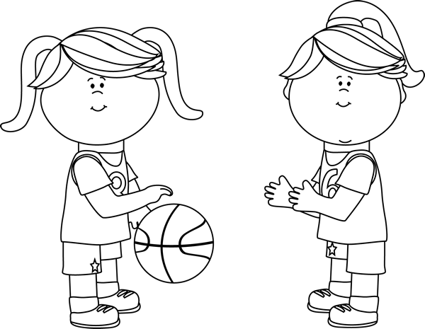 Black and White Girls Playing Basketball Clip Art - Black ...