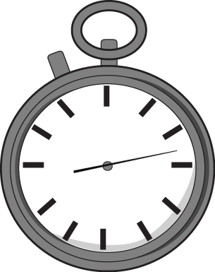 Stopwatch Clip Art Image - large gray stopwatch with a white face.