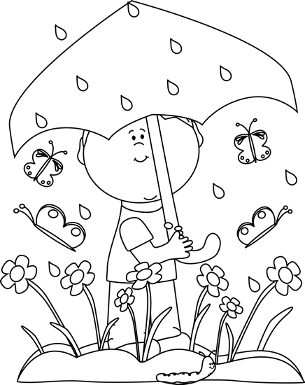 Black and White Boy in Spring Rain