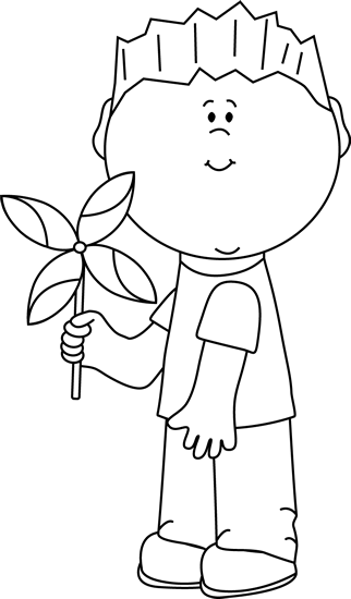 Black and White Boy with a Spring Pinwheel