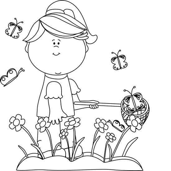Black and White Girl Catching Butterflies