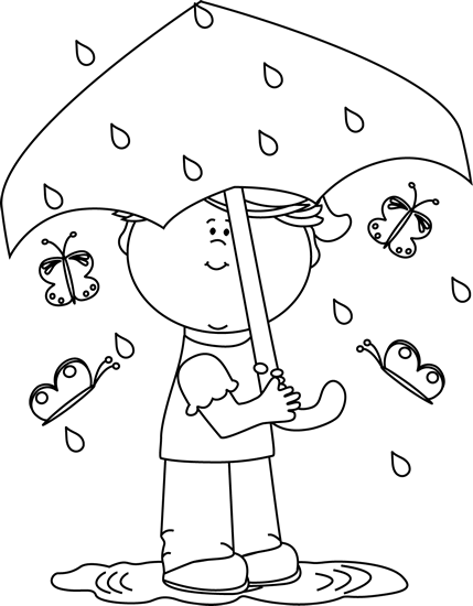 Black and White Girl in Spring Rain