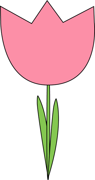 Pink Tulip Clip Art Image - large pink tulip with green leaves.