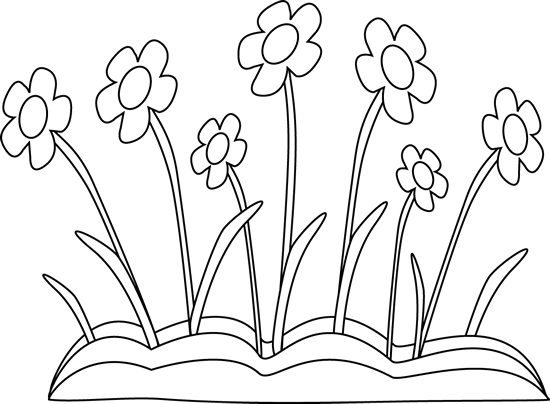 Line Drawing Spring Flowers : Black and white spring flower patch clip art