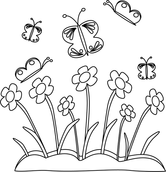 black and white spring flowers and butterflies clip art