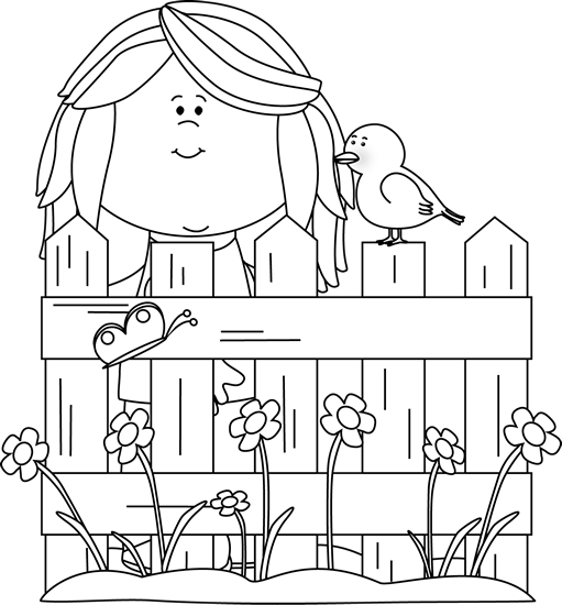 Black and White Spring Girl with a Bird