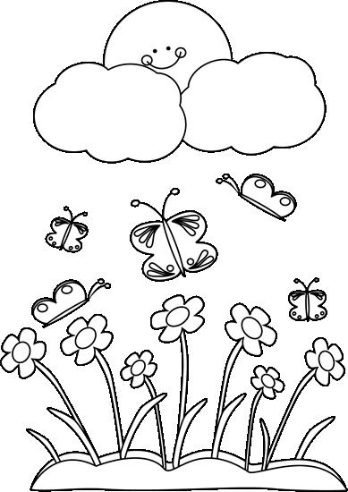 Spring Clip Art: Black And White Spring Sun Clip Art