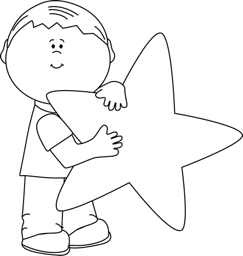 Black and White Boy with a Star Clip Art - Black and White ...