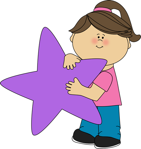 Girl Holding a Purple Star