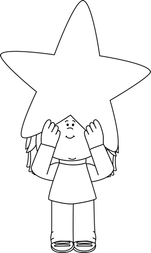 Black and White Girl Holding a Star Above Her Head