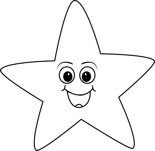 Black and White Happy Face Star
