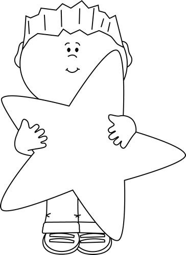 Black and White Little Boy Holding a Big Star Clip Art ...