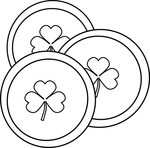 Black and White Saint Patrick's Day Coins Clip Art - Black ...