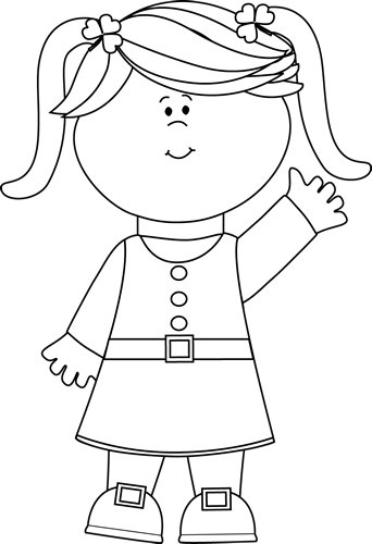 Black and White Cute Saint Patrick's Day Girl Clip Art ...