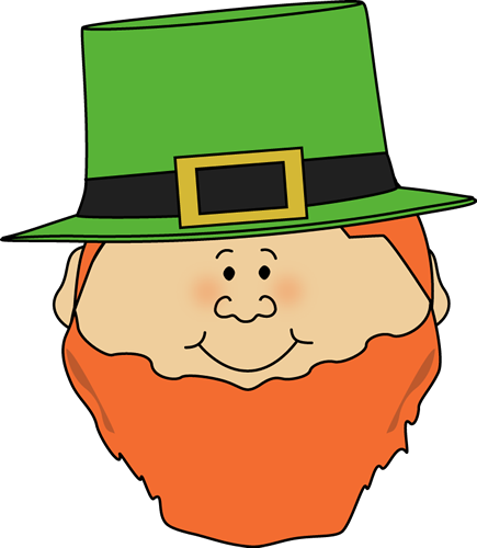 Leprechaun Face Clip Art Image - cute leprechaun face with a beard.