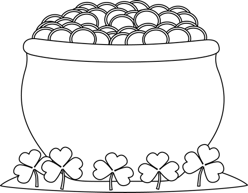 Black and White Pot of Gold and Shamrocks Clip Art - Black ...