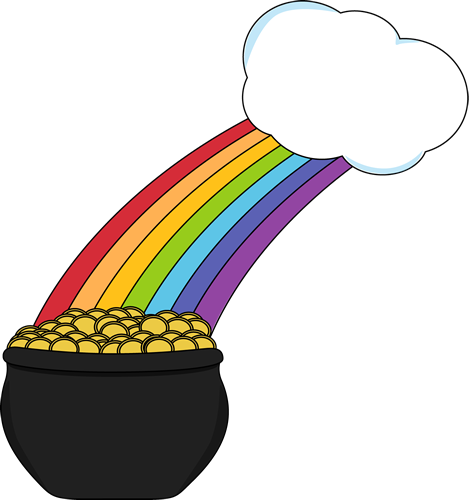 Pot of Gold with Rainbow and Cloud