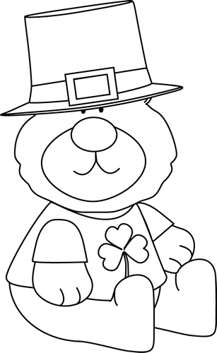 Black and White Saint Patrick's Day Bear