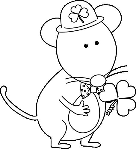 Black and White Saint Patrick's Day Mouse Clip Art - Black ...