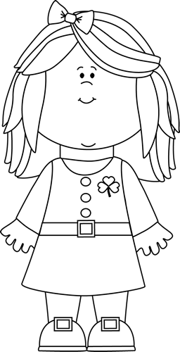 Black and White Saint Patrick's Day Girl Clip Art - Black ...