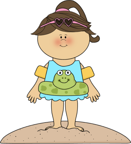 Beach Girl with Frog Float