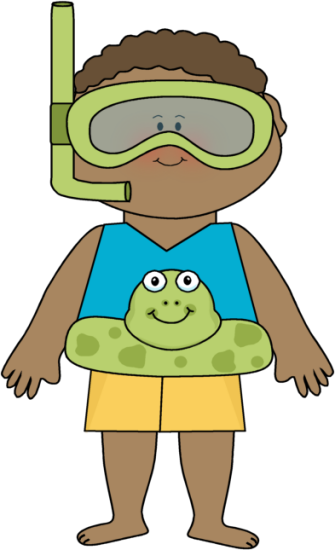Boy Wearing Frog Float