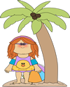Girl Under Palm Tree