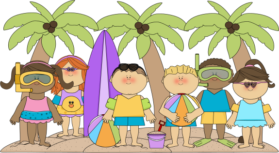 Kids at the Beach Clip Art Image - bunch of kids at the beach under ...