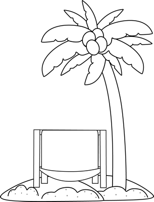 Black and White Beach Chair and Palm Tree Clip Art