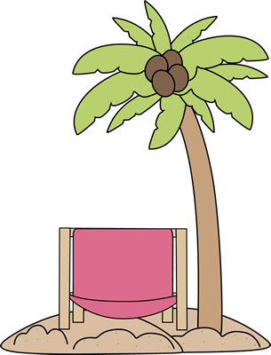 Palm Tree and Beach Chair Clip Art