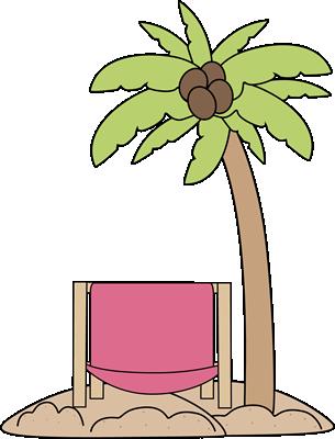 Palm Tree and Beach Chair Clip Art