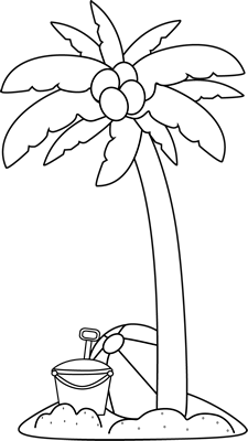 Black and White Palm Tree and Beach Toys Clip Art
