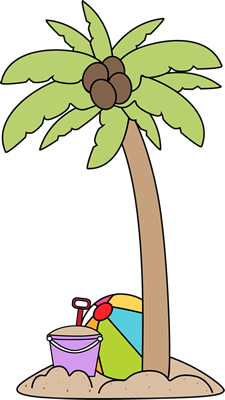 Palm Tree and Beach Toys Clip Art